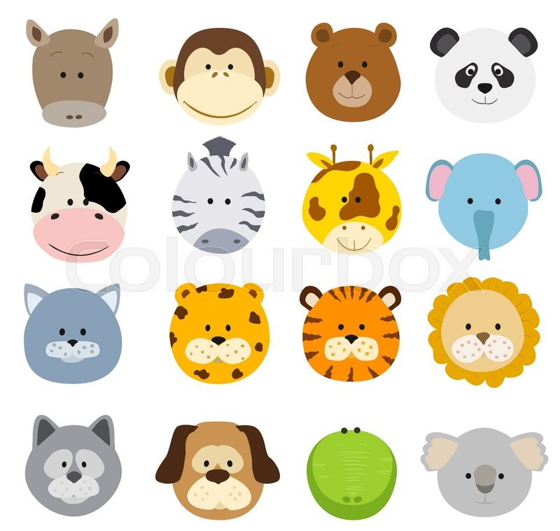 Set of cartoon animals faces. Vector collection of cute ...