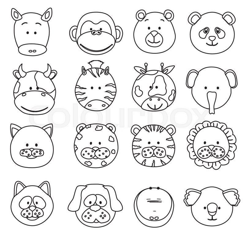 Line Drawing Animal Face : Set of cartoon animals faces thin line icons vector