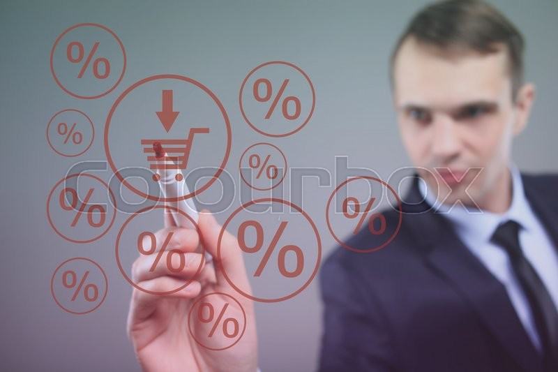 Business and advertisement concept. Close up of businessman drawing a shopping cart, stock photo