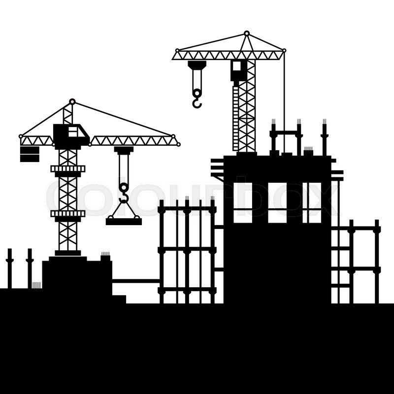 Construction Site with Tower Cranes. Vector illustration ...