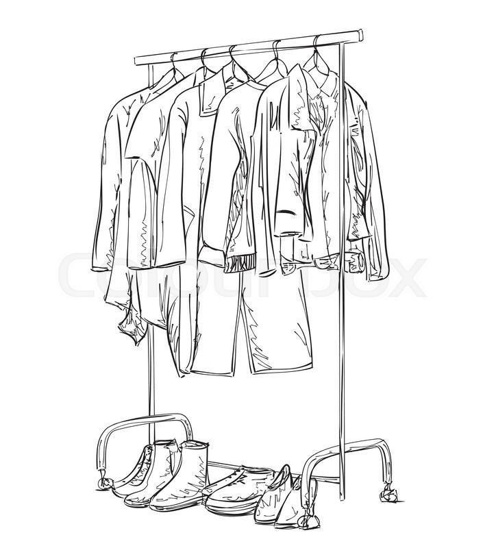 Hand Drawn Wardrobe Sketch Clothes Stock Vector