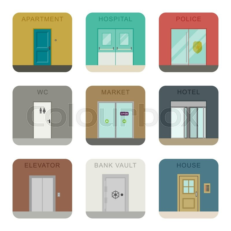 Doors icons for different purposes in flat style. Vector icons building and flat entrances. | Stock Vector | Colourbox  sc 1 st  Colourbox & Doors icons for different purposes in flat style. Vector icons ...