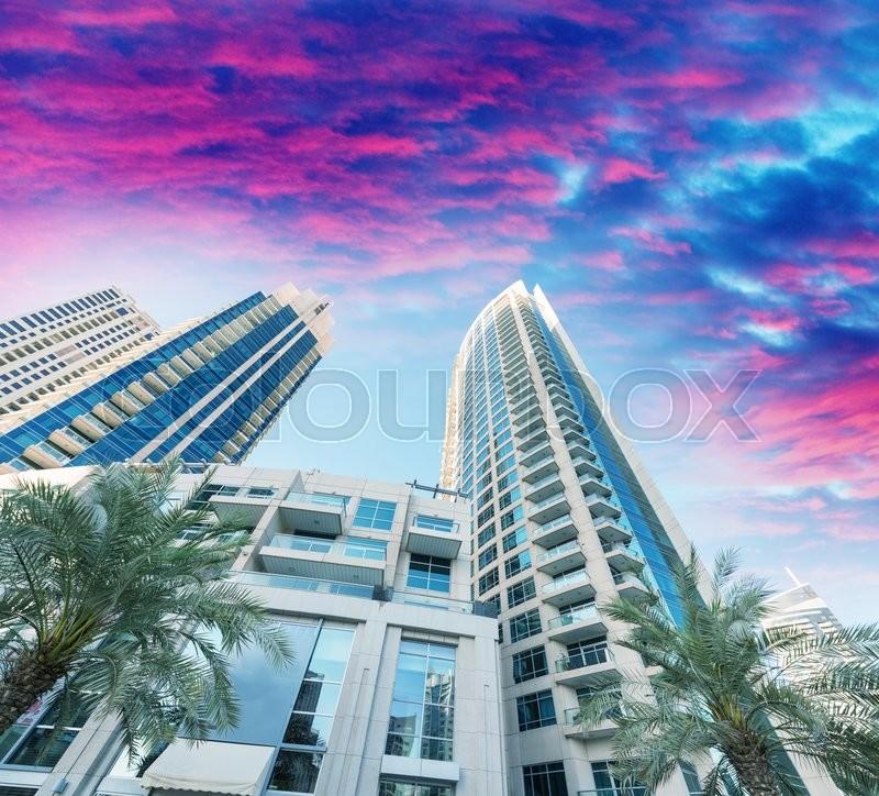 Dubai at dusk, United Emirates. City skyline, stock photo