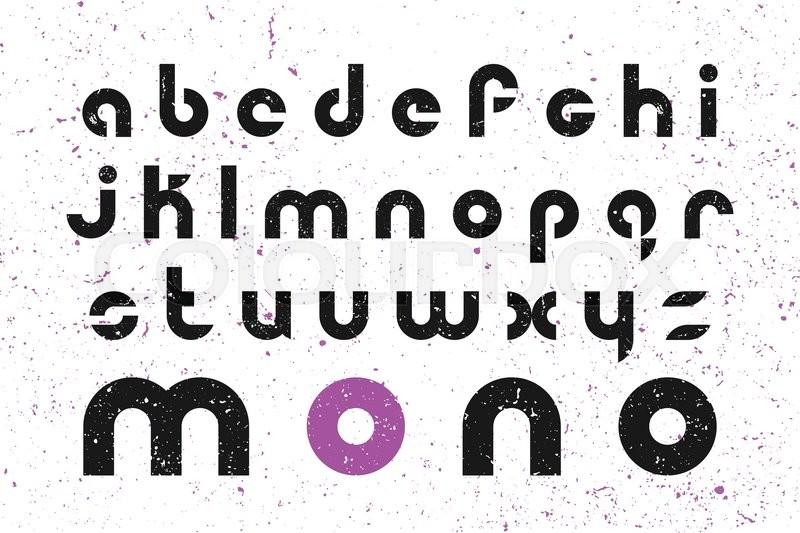 Set Of Stylized Alphabet Letters Over Grunge Background