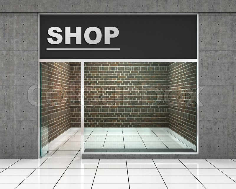 Shop front exterior horizontal windows empty for your for Exterior design for shops