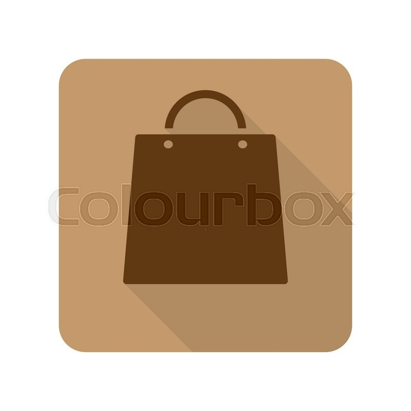 Flat style Shopping Bag web app icon on light brown background ...