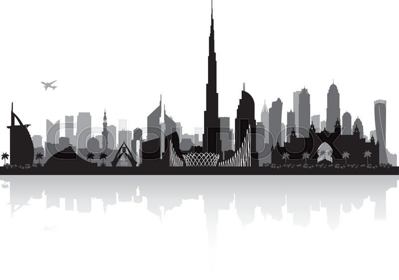 Dubai Uae City Skyline Vector Silhouette Illustration