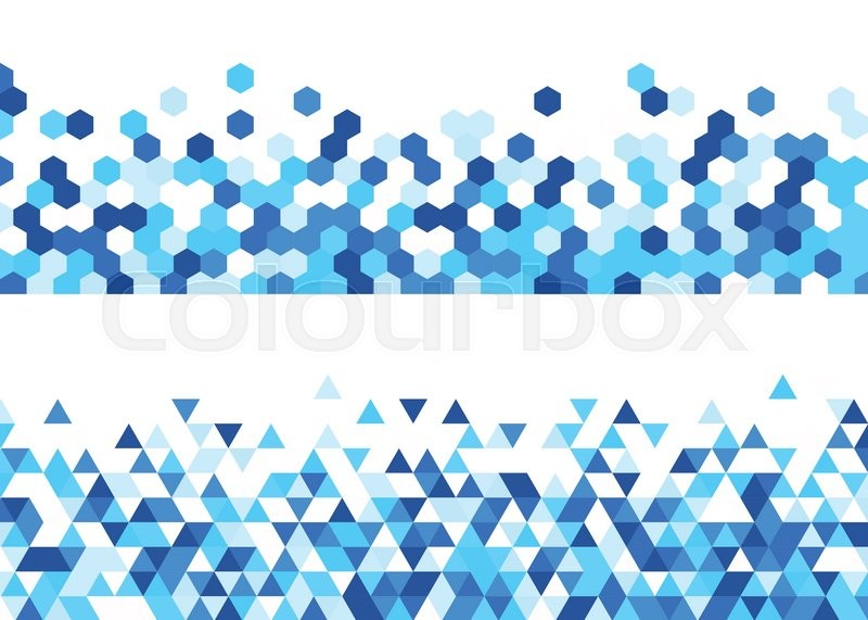 white abstract banners set with blue figures vector illustration