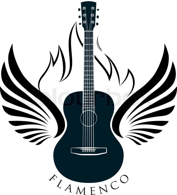 Acoustic Classic Guitar Emblem With Stock Vector