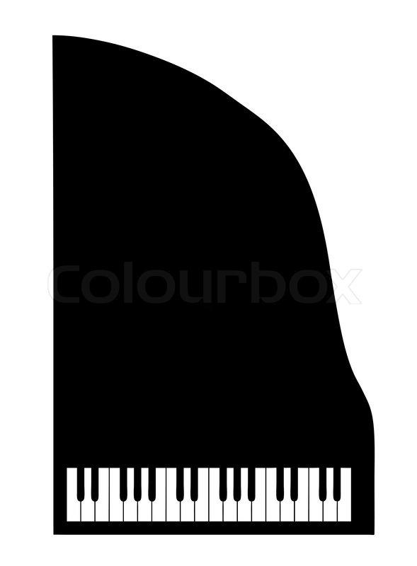 Vector silhouette grand piano on white background | Stock ...