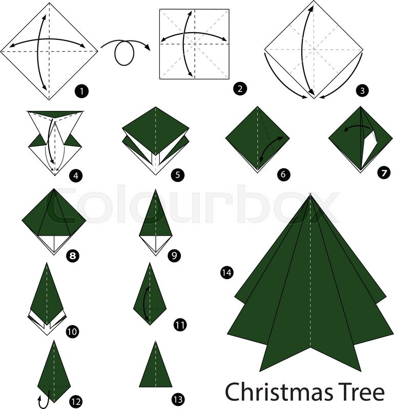 3d origami christmas tree folding instructions | origami instruction.