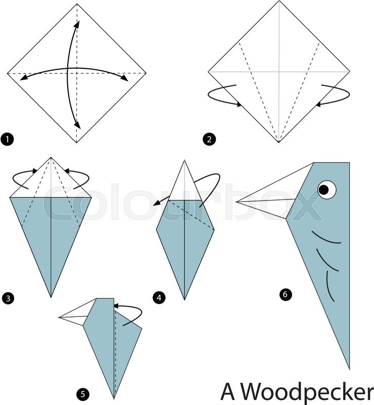 Step By Instructions How To Make Origami A Woodpecker