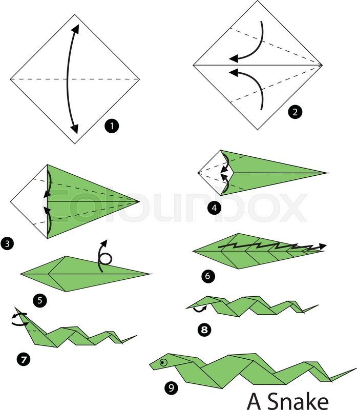Step By Instructions How To Make Origami Snake