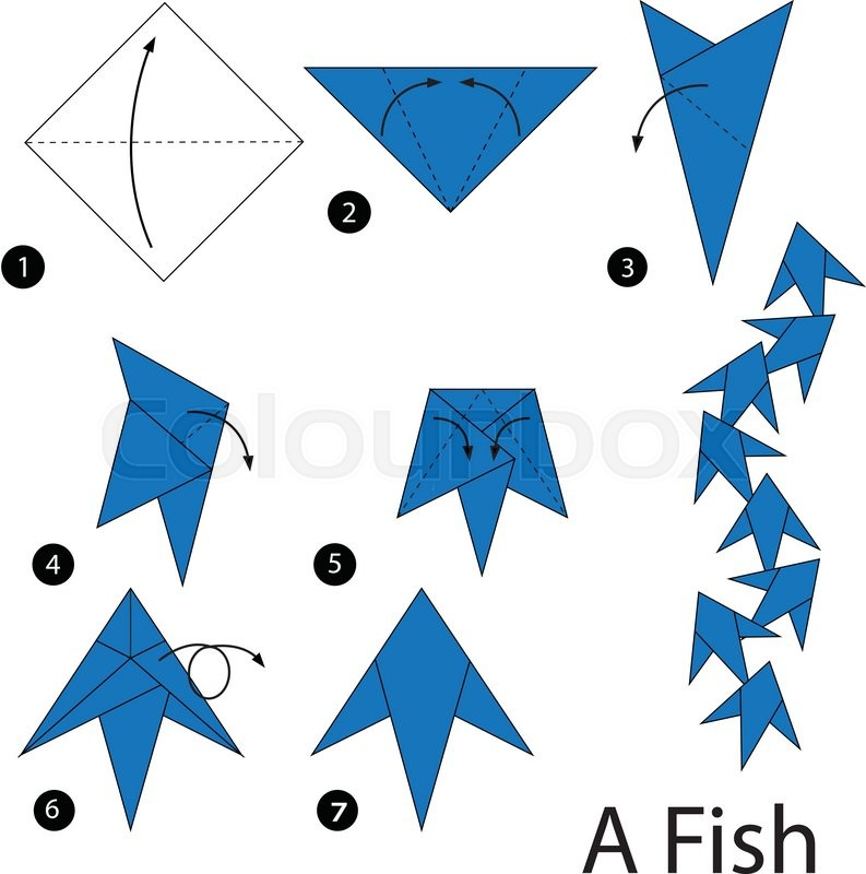 Toy Paper Origami Vector Steps Cartoon Animal Fish