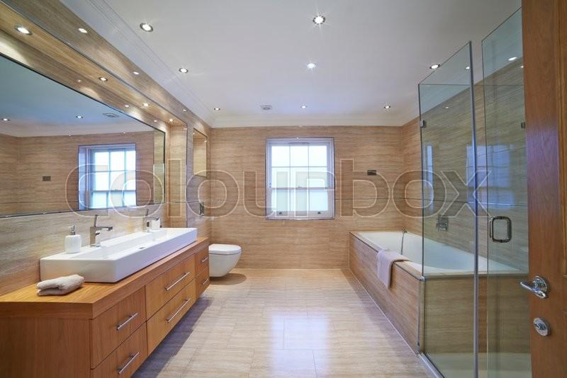 Interior View Of Beautiful Luxury Bathroom, stock photo