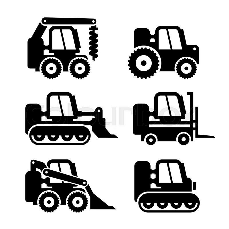 Bobcat Machine Icons Set On Vector Illustration Stock