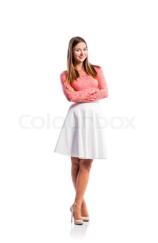 Standing Teenage Girl In Pink Lace Top Stock Image