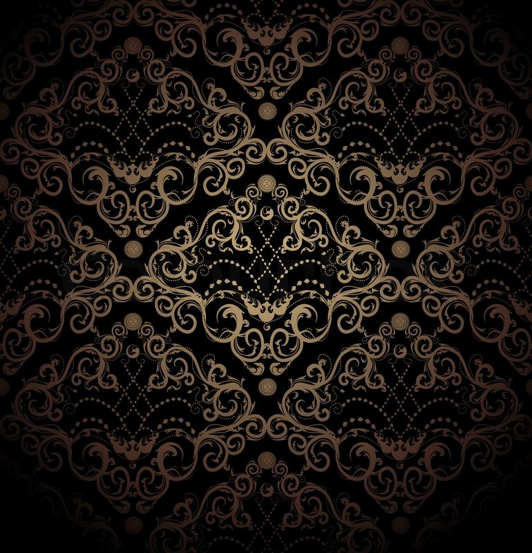 Floral black and gold seamless royal beauty ornament for Ornament tapete