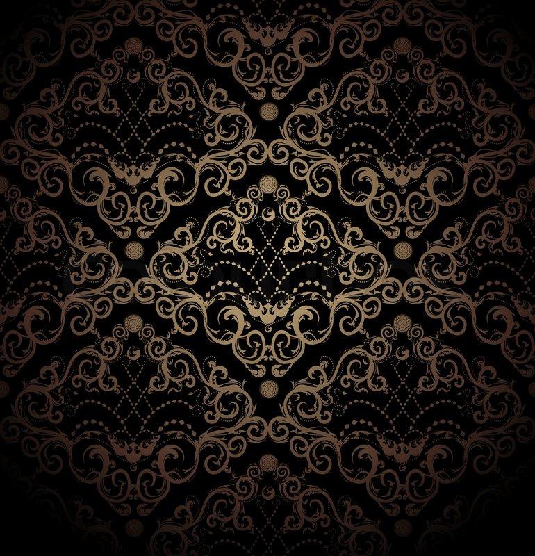 floral schwarz und gold nahtlose stockfoto colourbox. Black Bedroom Furniture Sets. Home Design Ideas