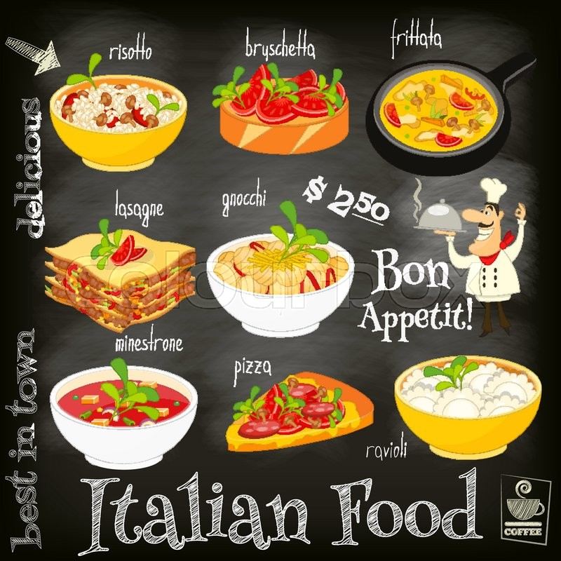 Italian food menu card with traditional meal on chalkboard for Artistic cuisine menu