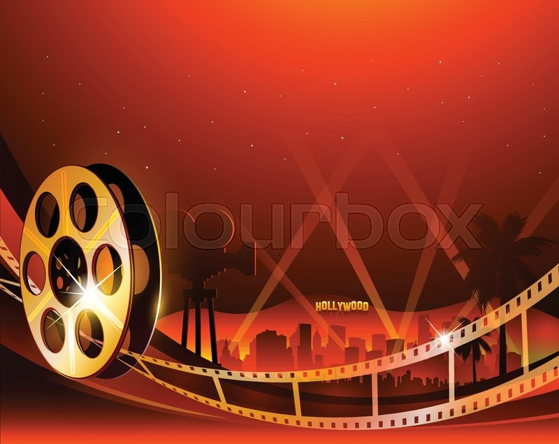 Vector illustration of a film stripe reel on abstract ...