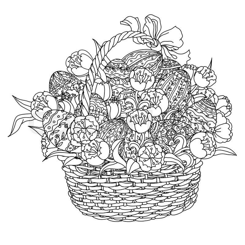 Easter eggs and tulips in a wicker basket in adult coloring book