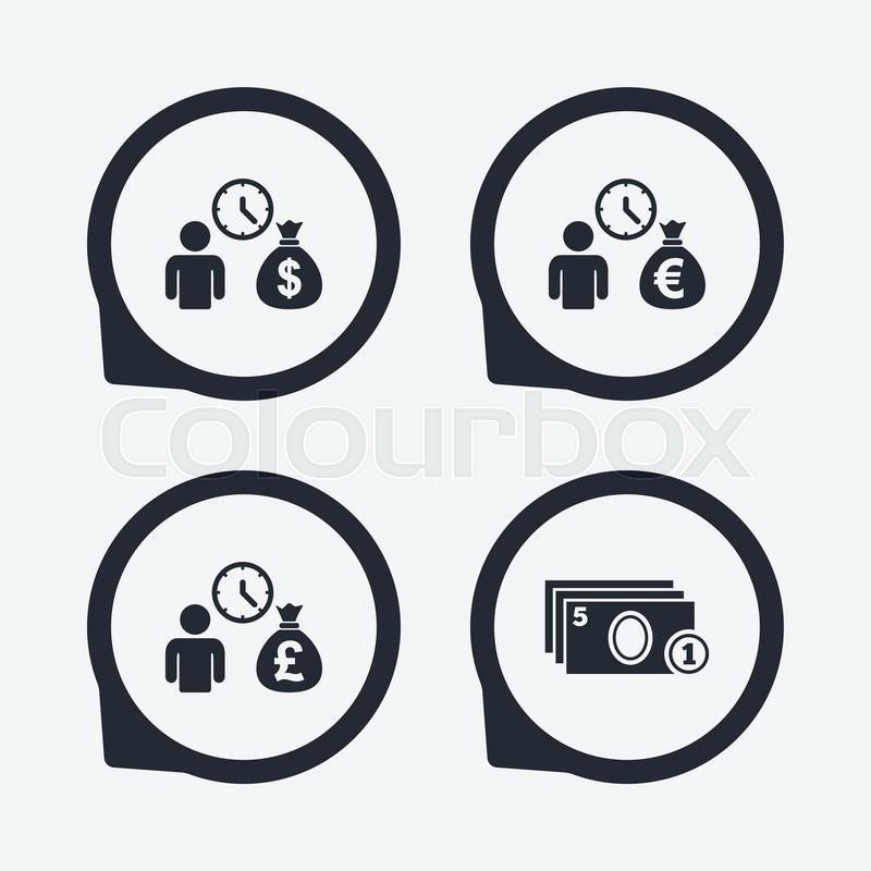 Bank loans icons cash money bag symbols borrow money for Best way to borrow money to buy land