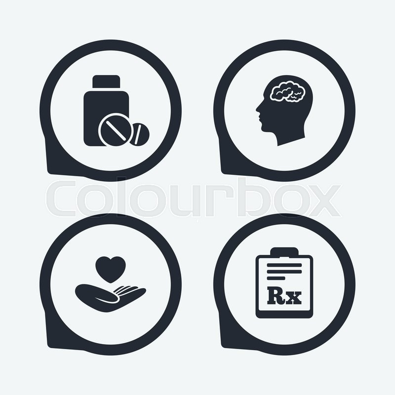 Medicine Icons Medical Tablets Bottle Head With Brain