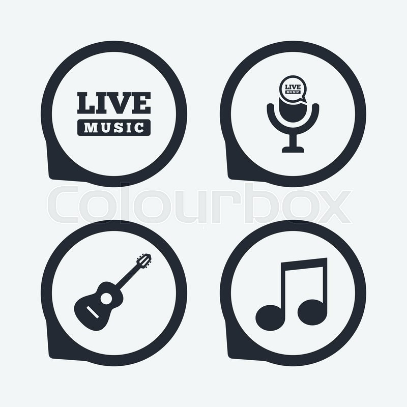 Musical Elements Icons Microphone And Live Music Symbols Music