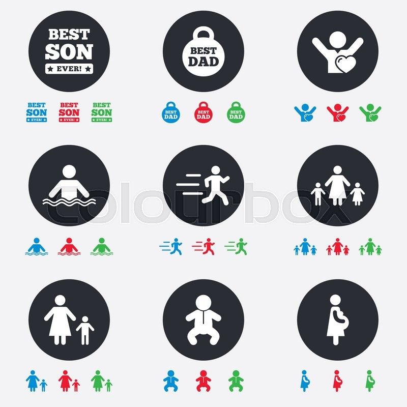 People, family icons. Swimming, baby and pregnant woman signs. Best dad, runner and fan symbols. Flat circle buttons with icons, vector