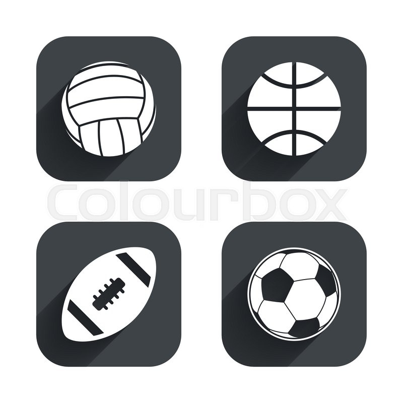 Sport balls icons. Volleyball, Basketball, Soccer and American football signs. Team sport games. Square flat buttons with long shadow, vector