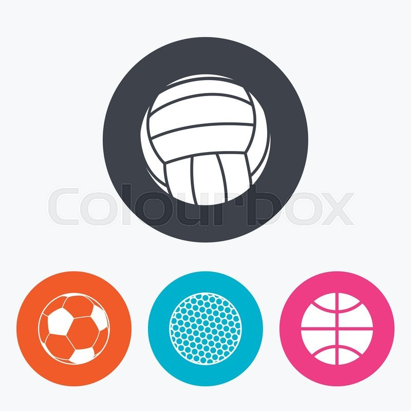 Sport balls icons. Volleyball, Basketball, Soccer and Golf signs. Team sport games. Circle flat buttons with icon, vector