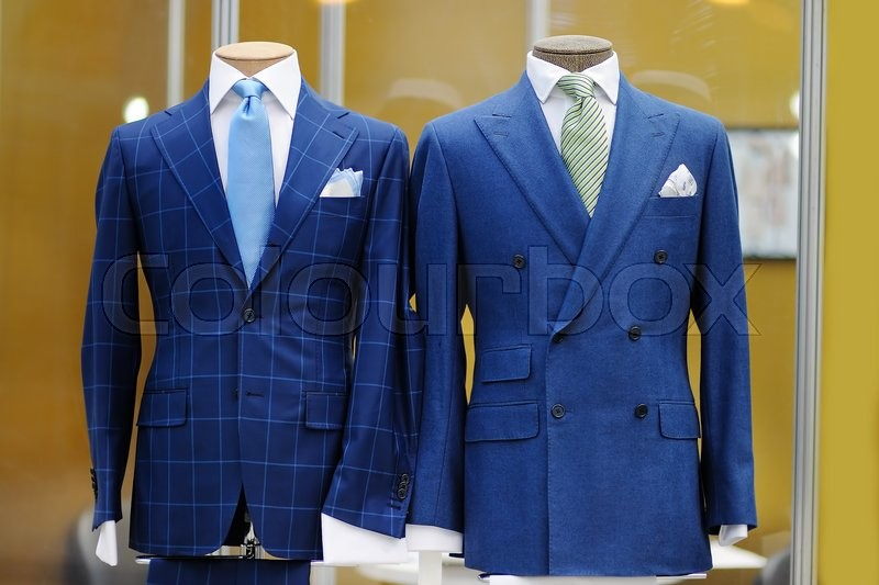 beautiful blue suits with tie tie clip and handkerchief on a mannequin stock photo colourbox. Black Bedroom Furniture Sets. Home Design Ideas