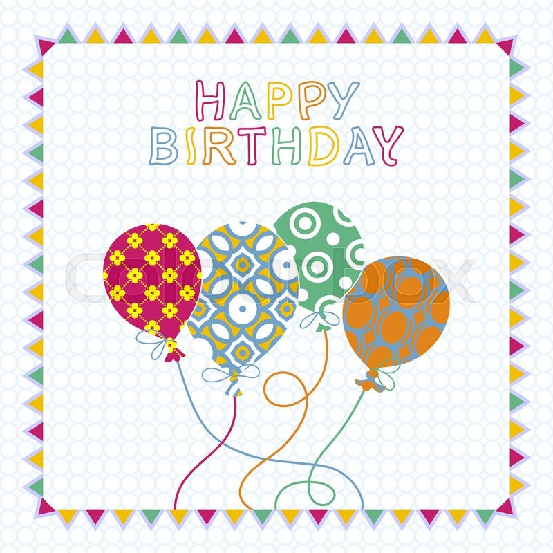 Happy Birthday Card Design With Balloons, Creative Greeting Card