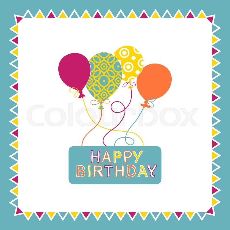 Happy Birthday Card Design With Balloons Creative Greeting Card