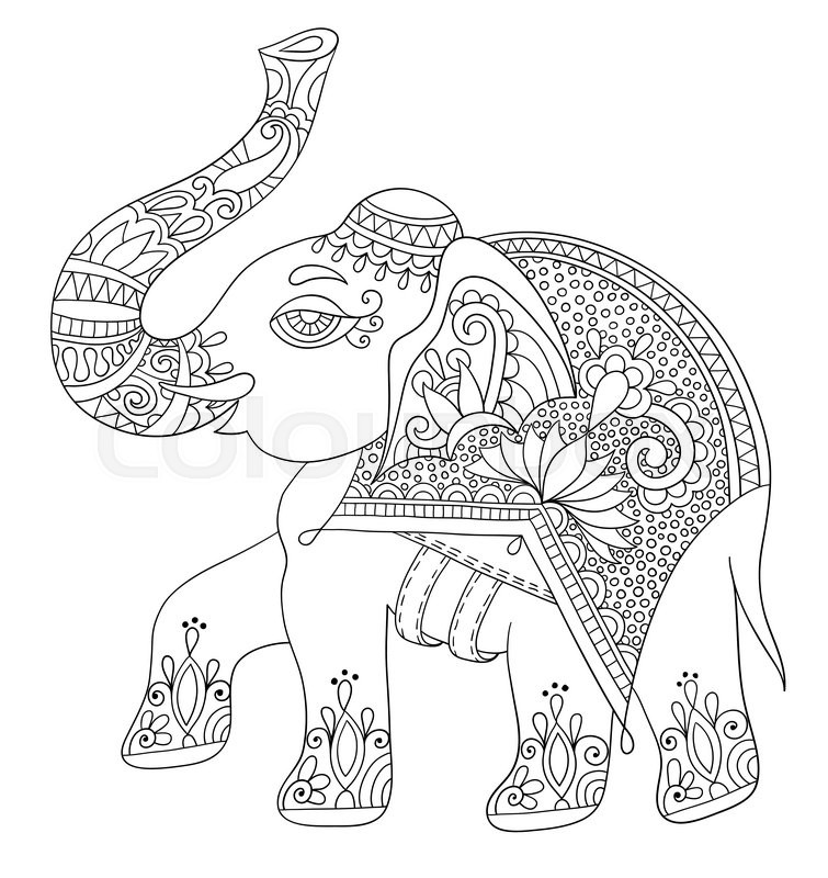 Ethnic Indian Elephant Line Original Drawing Adults Coloring Book Vertical Page Black And White Vector Illustration