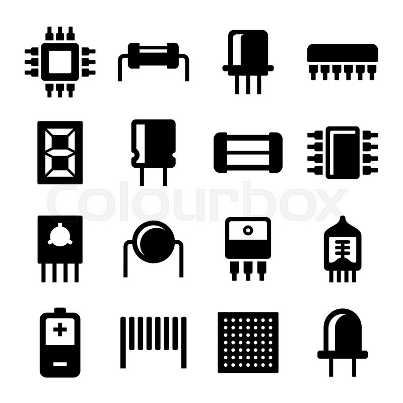 electronic components and microchip icons set  vector