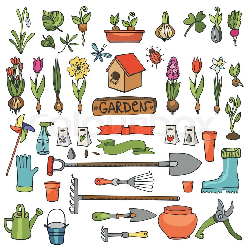 Spring Garden Set.Hand Drawn Flowers,bulb, Garden Tool,boarding  Equipment.Vector Garden Sketch Elements.Spring Gardening Isolated Icon  Set,planting Spring ...