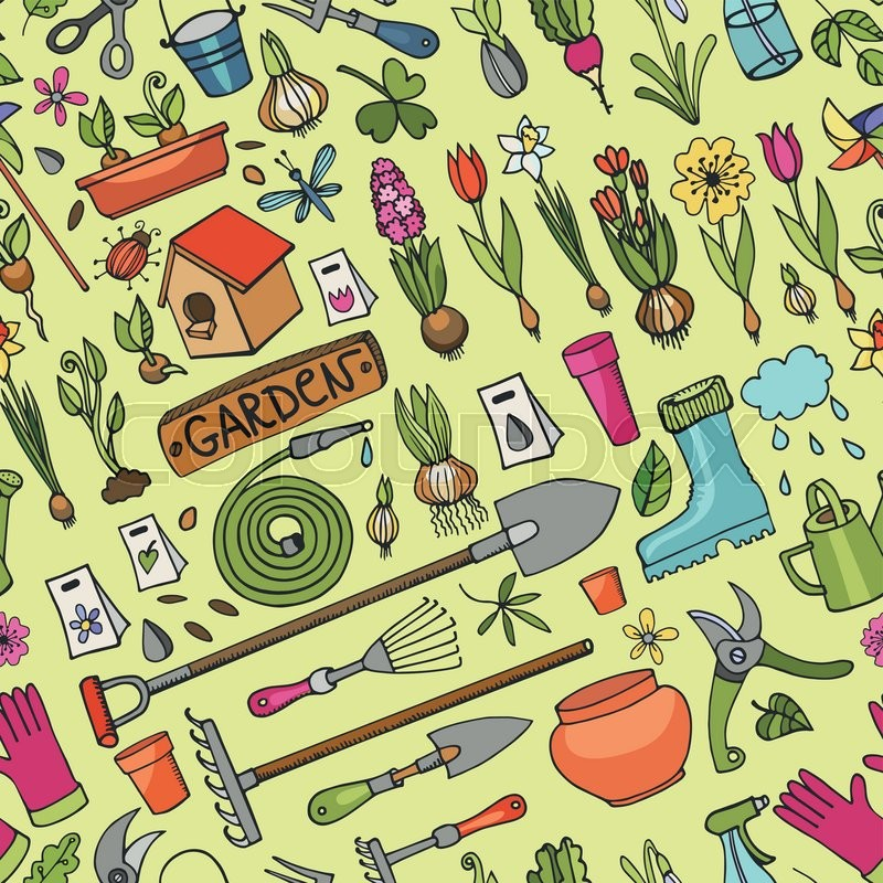 Stock Vector Of U0027Spring Garden Seamless Pattern.Hand Drawn Flowers,bulb,  Garden