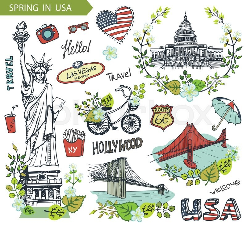 Spring In Usafloral Decorctor Doodleserican Travel Symbols In