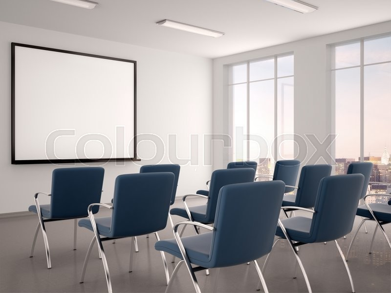 D Illustration Of Empty Conference Room With A Whiteboard For - Whiteboard conference table