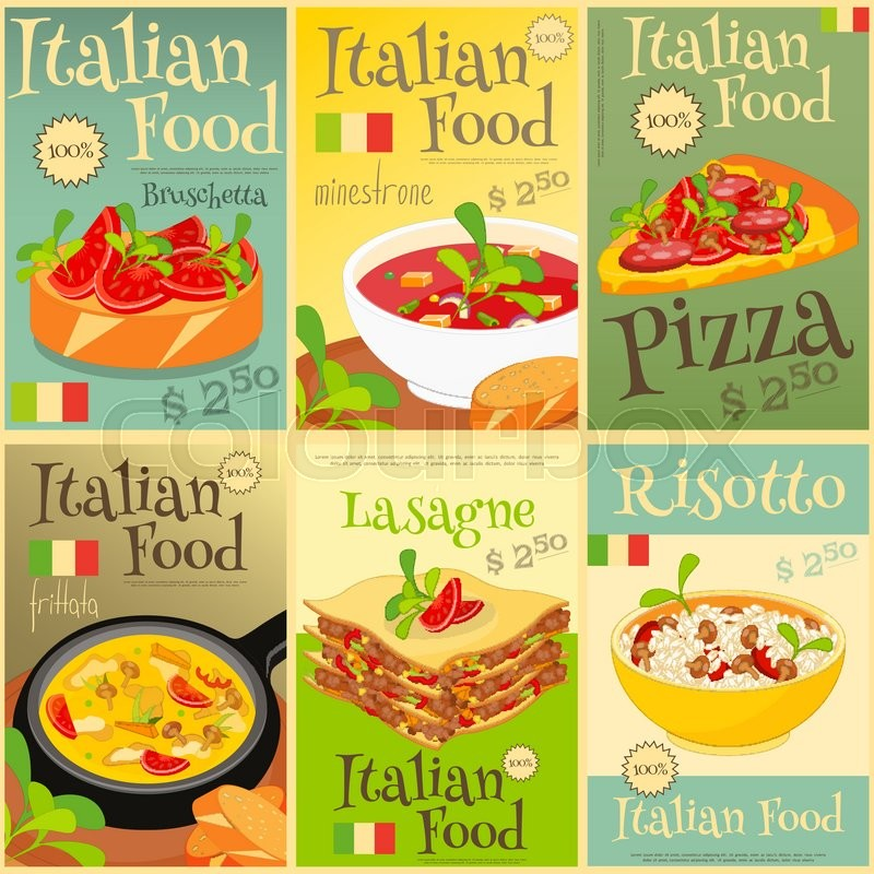 italian food mini poster set wtih lasagne pizza pasta olive oil