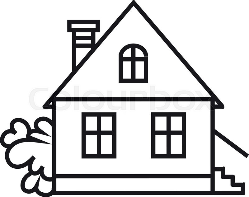 Simple house icon. Vector icon of house. Black and white ...