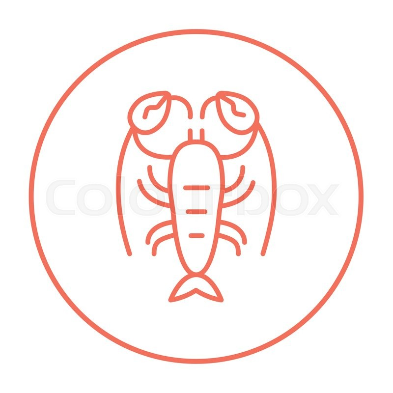 Lobster Line Icon For Web Mobile And Infographics Vector Red Thin