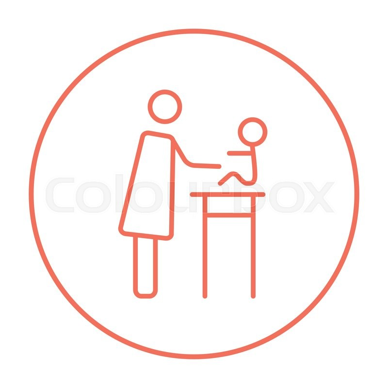 Woman Taking Care Of The Baby Line Icon For Web Mobile And