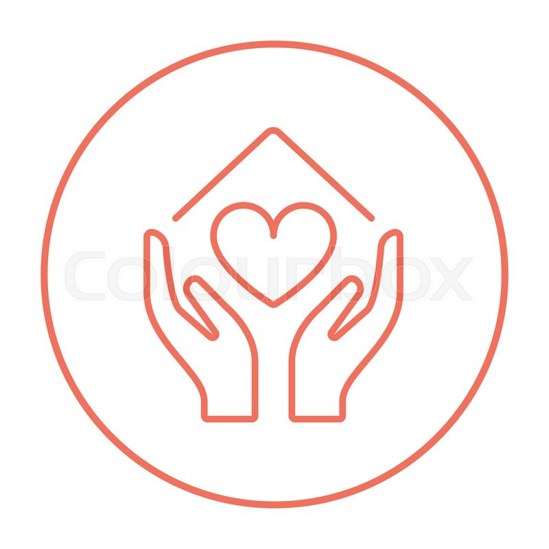 Hands Holding House Symbol With Heart Shape Line Icon For Web