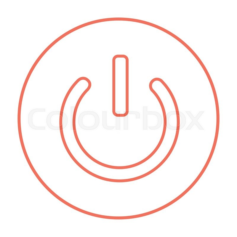Power Button Line Icon For Web Mobile And Infographics Vector Red