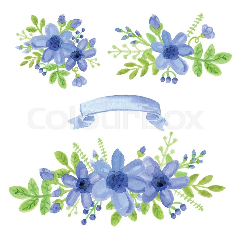 Watercolor blue daisy flowersgreen branchesleaves in bouquet set hand painted berriesfloralribbonpetal decor elementsr design template invitation vectorwedding stock vector colourbox stopboris Choice Image