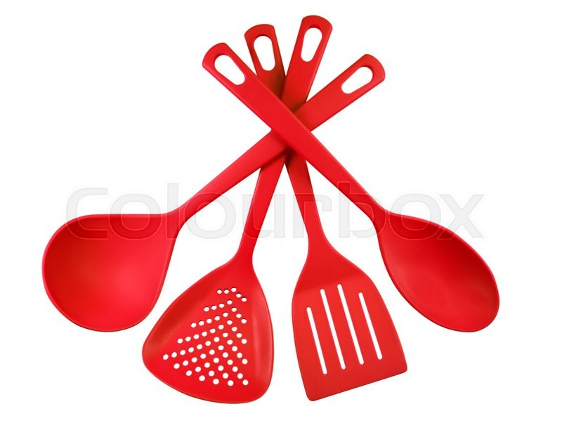 Red Plastic Kitchen Utensils Isolated On White. Clipping Path Included. |  Stock Photo | Colourbox
