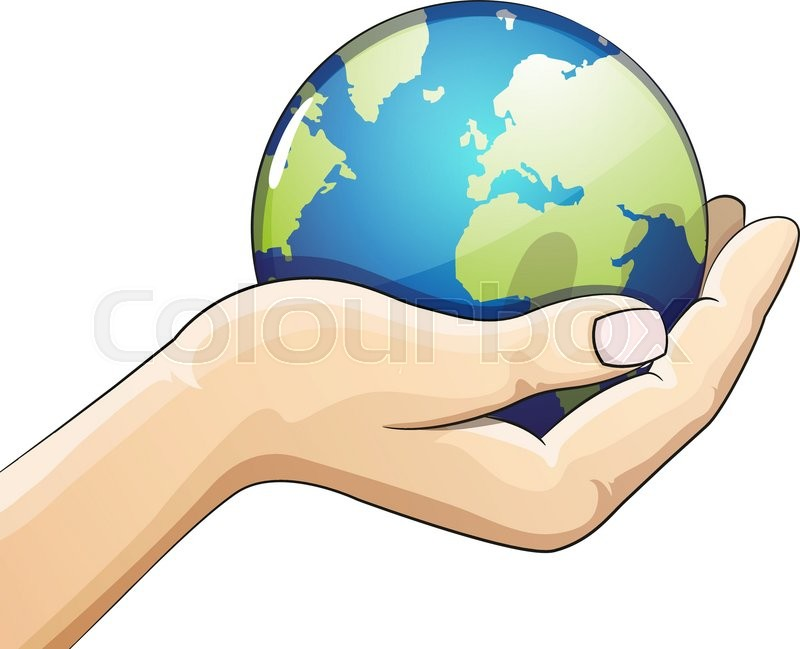 hand holding the earth globe on white background saving the earth rh colourbox com hand holding heart tattoo hand holding earth drawing